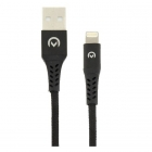 USB A - Apple Lightning kabel 2 meter (Gevlochten nylon, Zwart)
