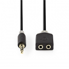Nedis 3.5 mm jack splitterkabel - Nedis - 0.2 meter (Stereo, Verguld) CABP22100AT02 K030301003