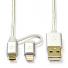 iPhone oplaadkabel | Lightning en Micro USB 2.0 | 2 meter (Nylon, Zilver)