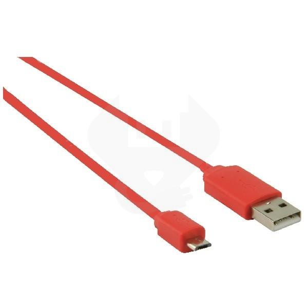 platte usb a micro usb b 2 0 kabel 1 meter rood. Black Bedroom Furniture Sets. Home Design Ideas